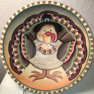"12"" Painted Turkey Bowl With Stand"